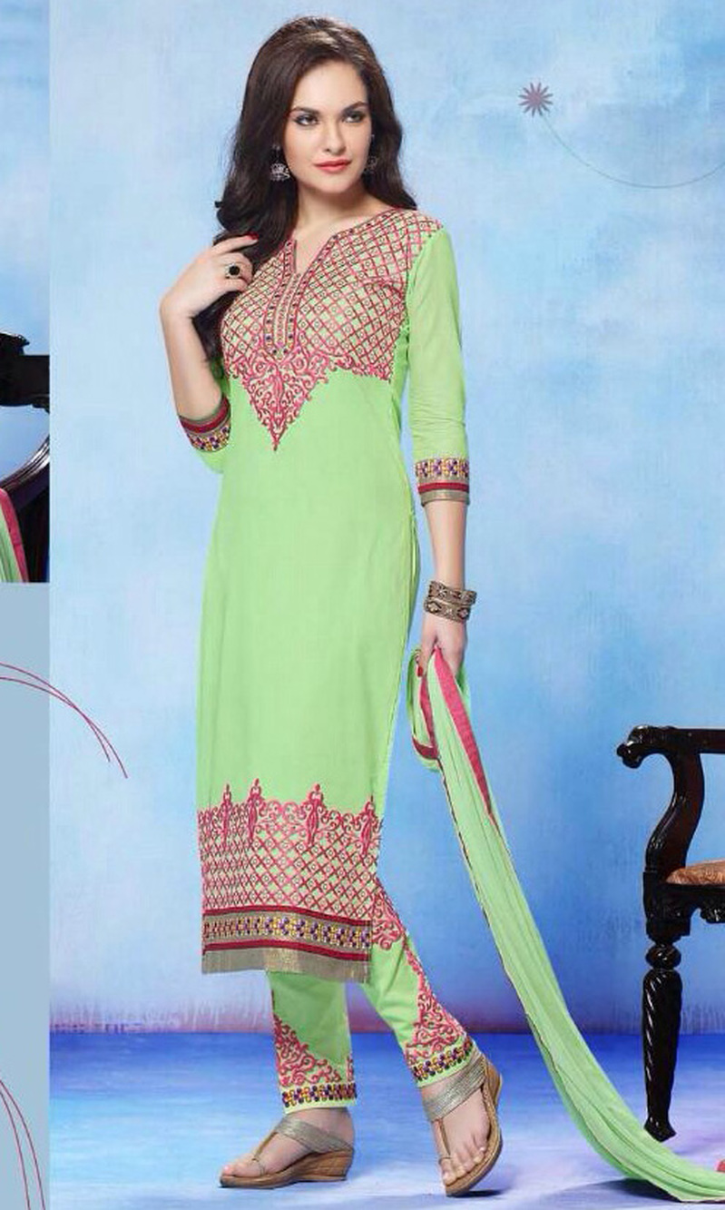 Light Green Pure Cotton Suit with Bottom Work