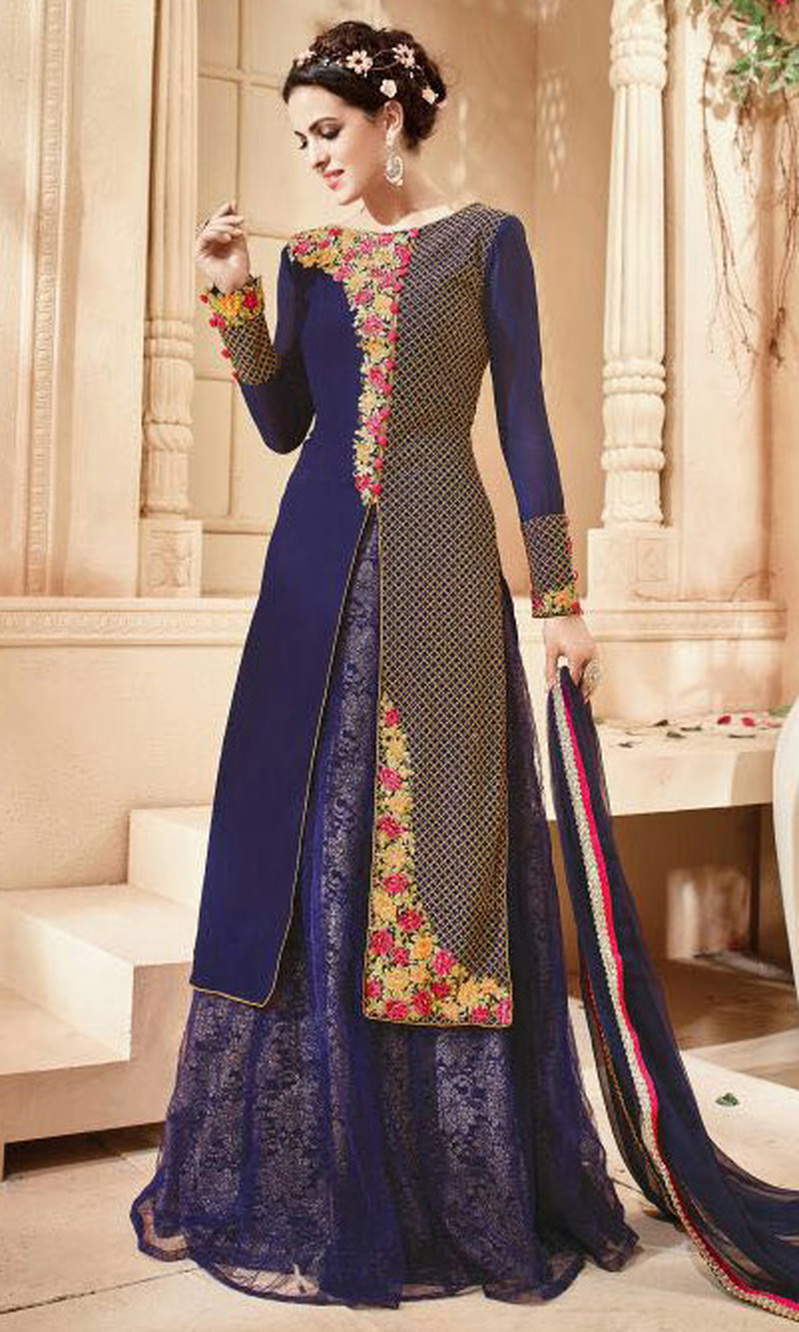 Navy Blue Georgette Double Layered Designer Suit