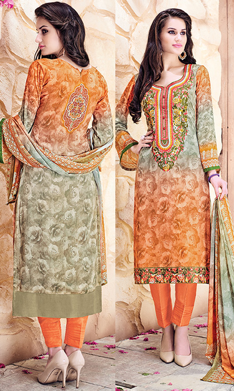 Orange & Beige Digital Print Pure Georgette Suit