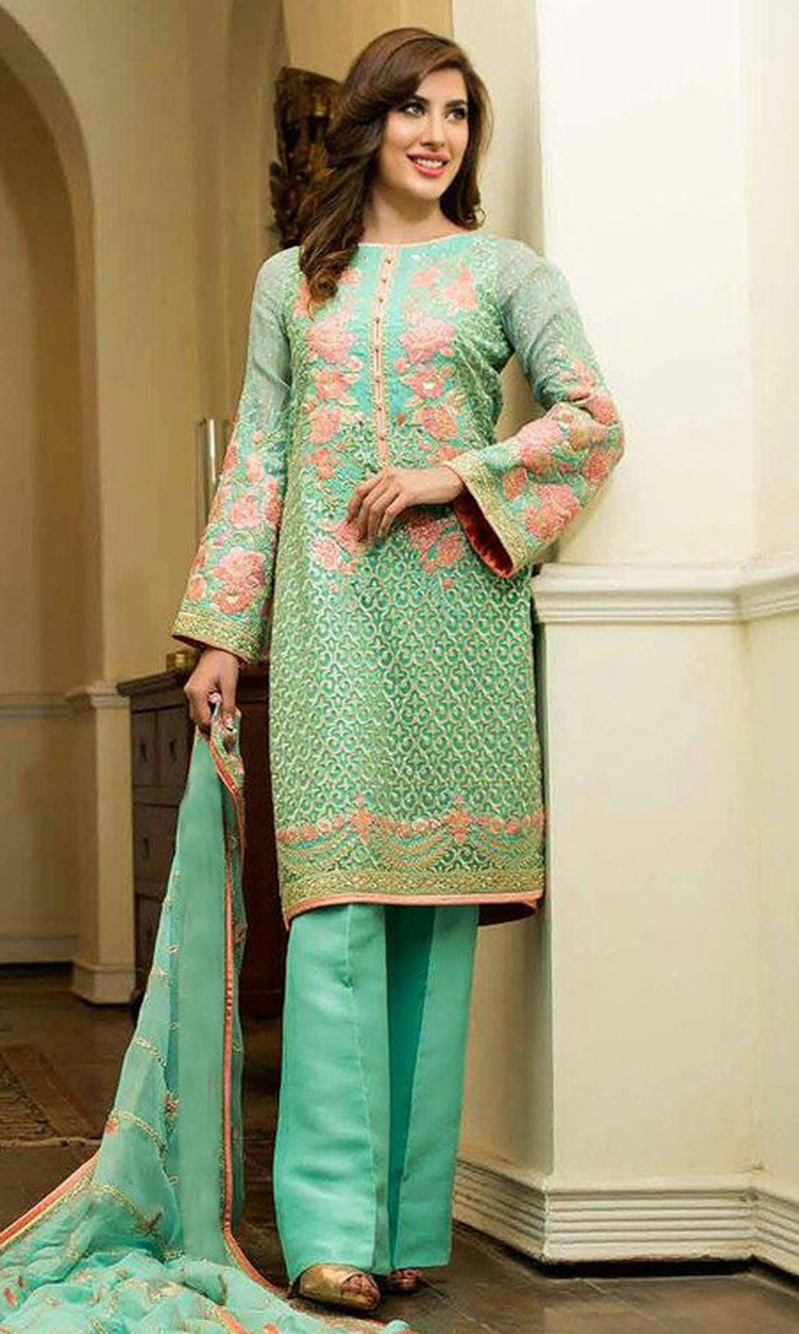 Sea Green Embroidered Georgette Designer Suit