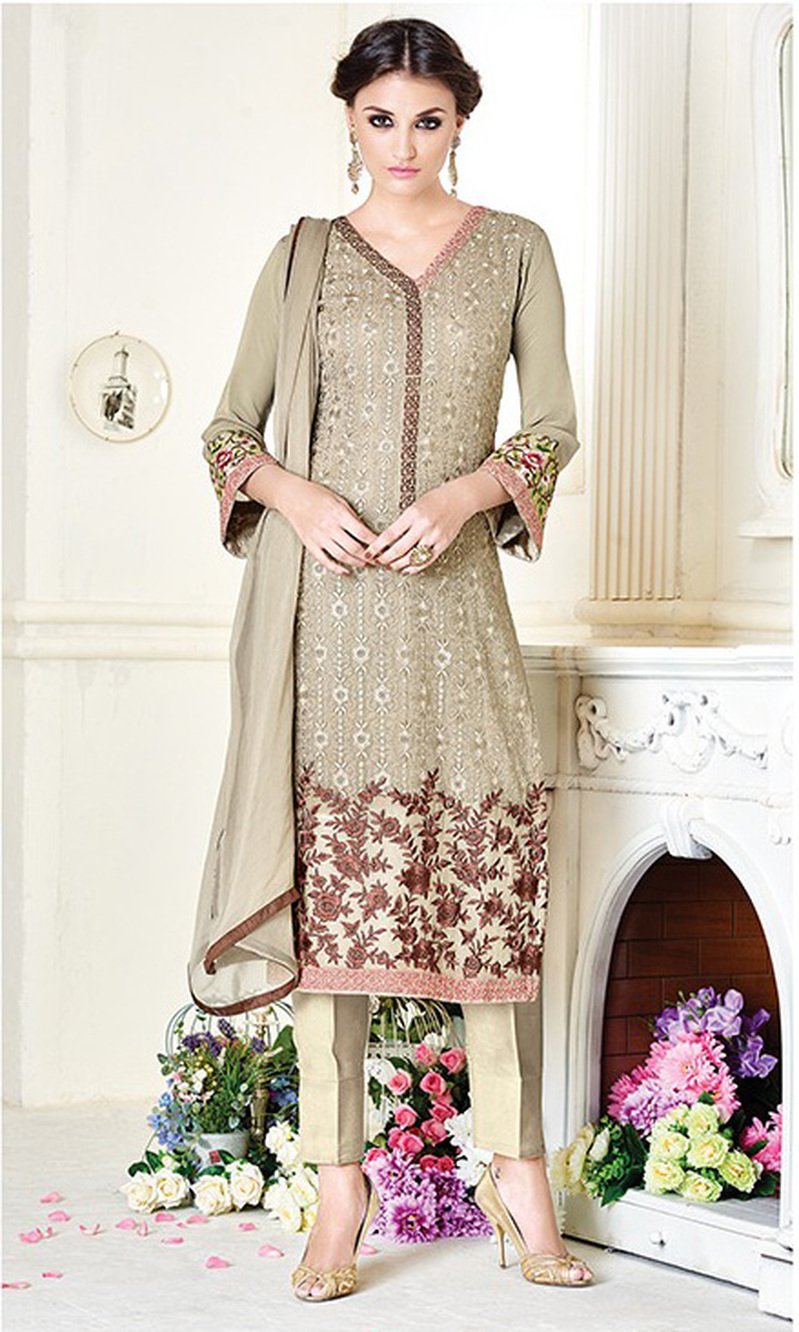 Beige Grey Embroidered Georgette Straight Suit