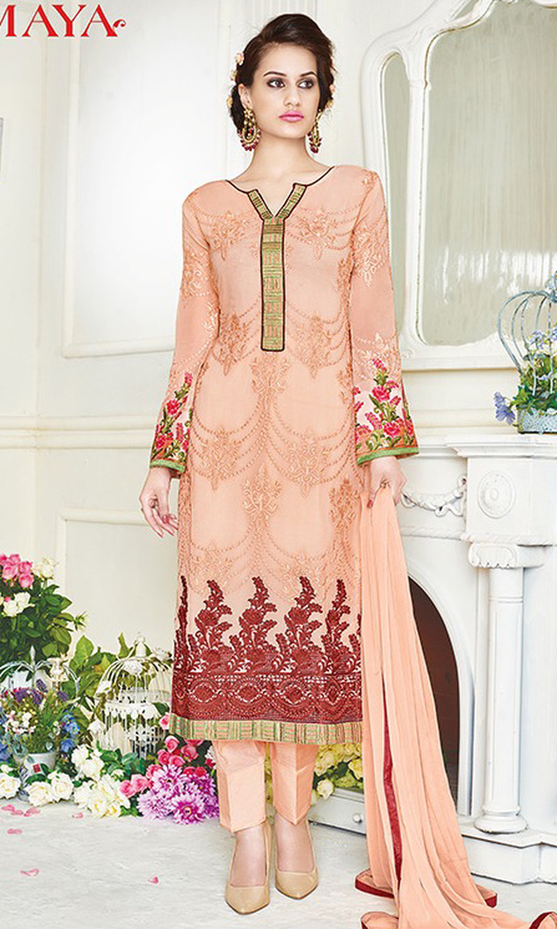 Peach Embroidered Georgette Straight Suit