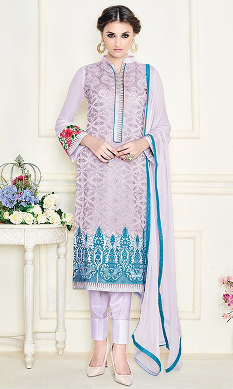 Light Violet Embroidered Georgette Straight Suit