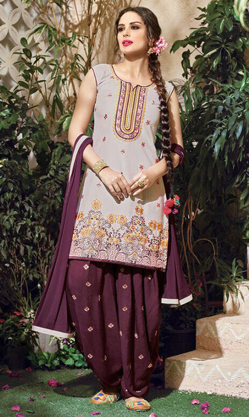 Light Grey Embroidered Cotton Patiala Salwar Suit