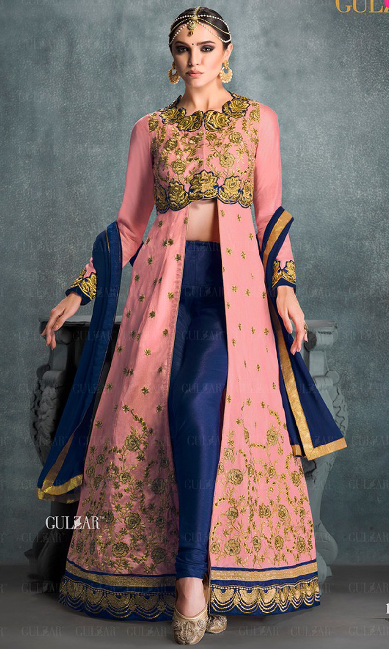 Pink & Blue Embroidered Banglori Silk Indo Western Suit