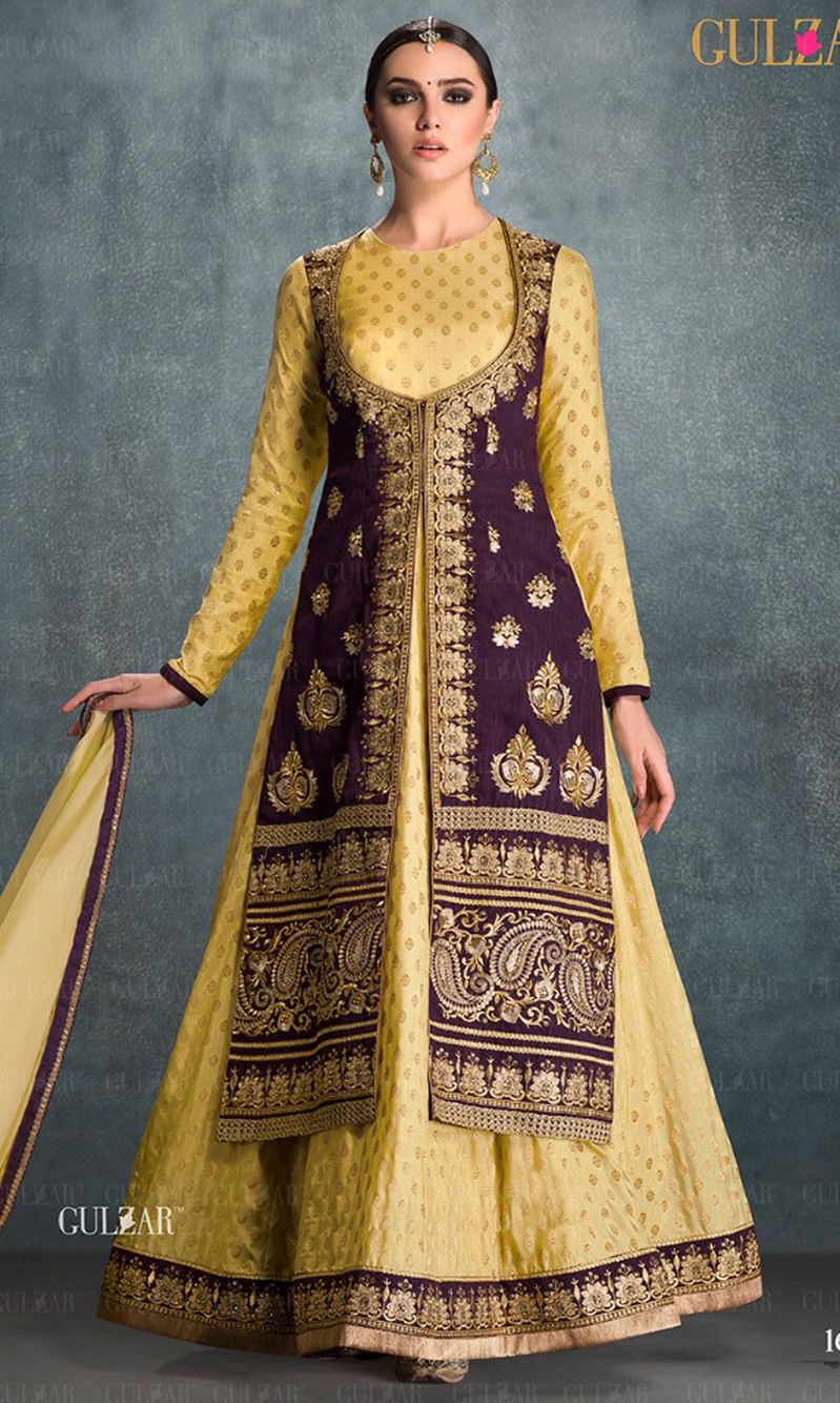 Yellow & Purple Embroidered Banglori Silk Indo Western Suit