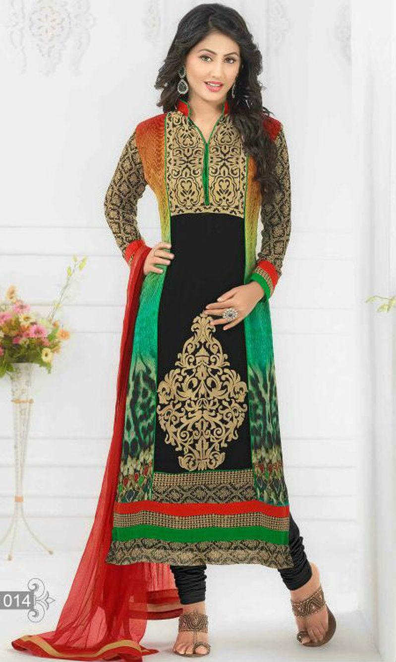 Buy Hina Khan Multicolor Digital Print Pakistani Suit Heenari 2