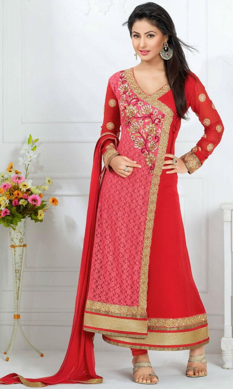 Buy Hina Khan Pink Red Rasal Net Suit Heerrni 43005 By Mahaveer