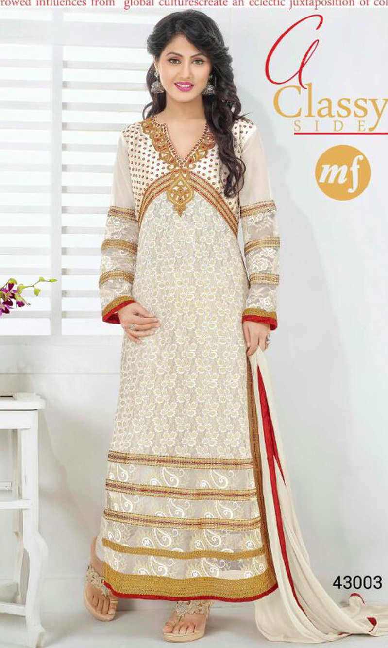 Hina Khan Cream Rasal Net Suit