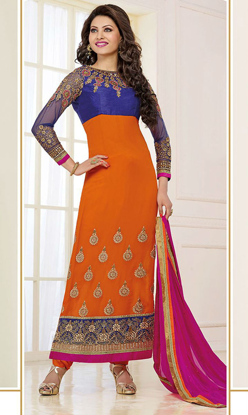 f1a9140bd3 Buy Urvashi Rautela Blue & Orange Pakistani Suit (Zubeda 11206) by ...