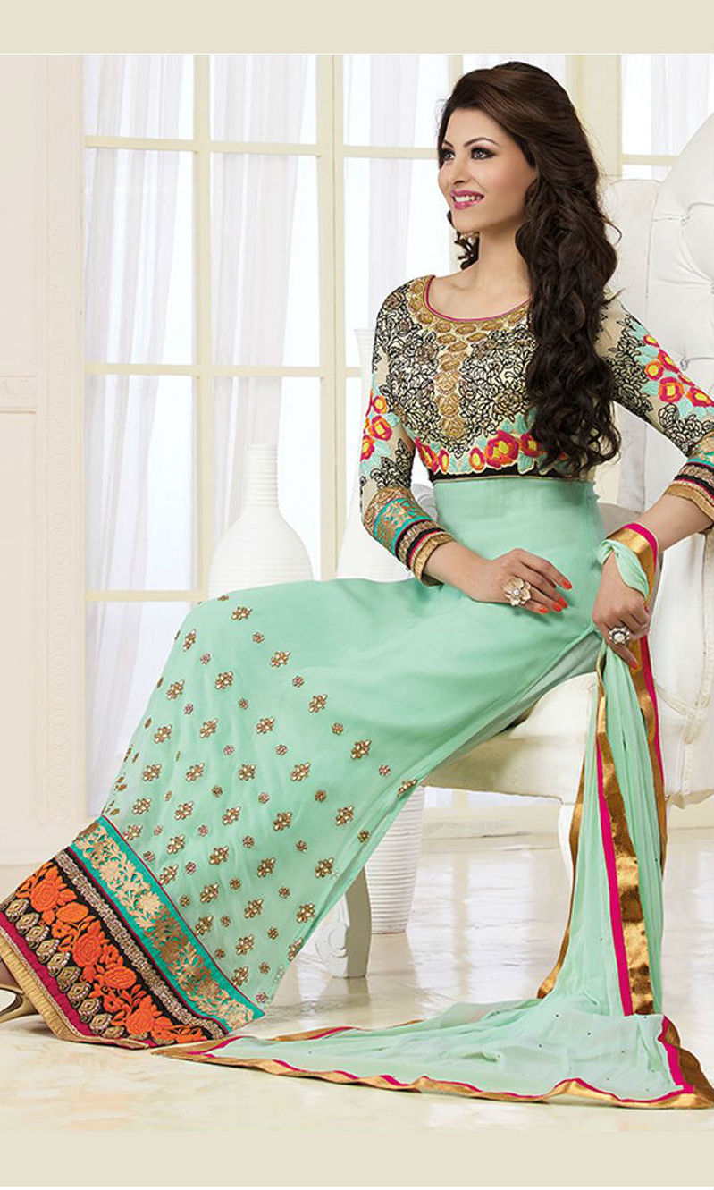 9419b7a937 Buy Urvashi Rautela Sea Green Pakistani Suit (Zubeda 11207) by ...