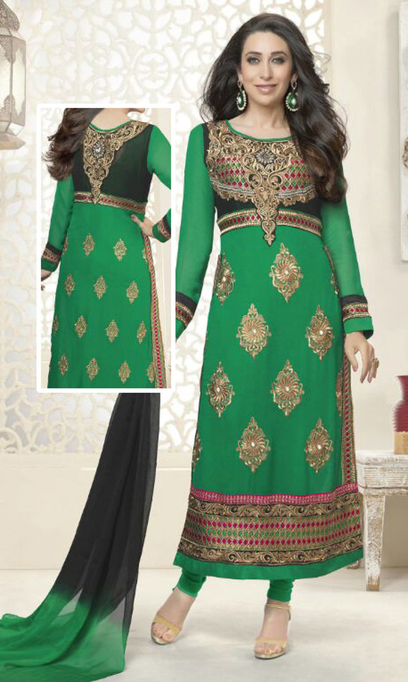 Karisma Kapoor Green Georgette Suit