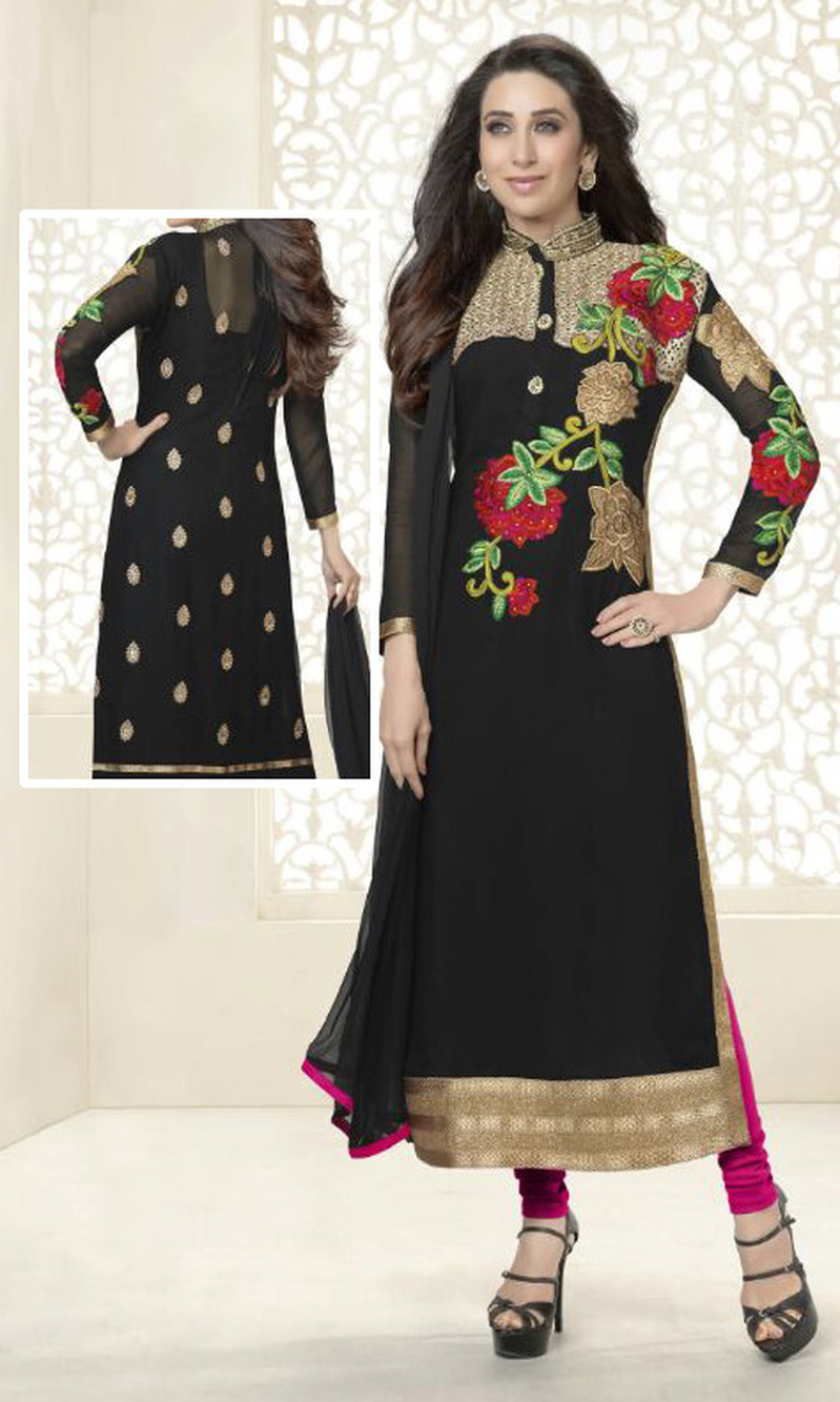 Karisma Kapoor Black Georgette Suit