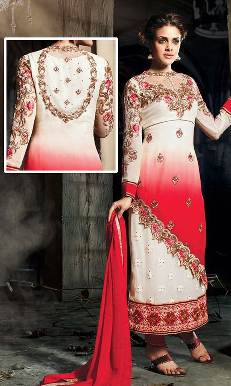 Off White & Red Georgette Suit