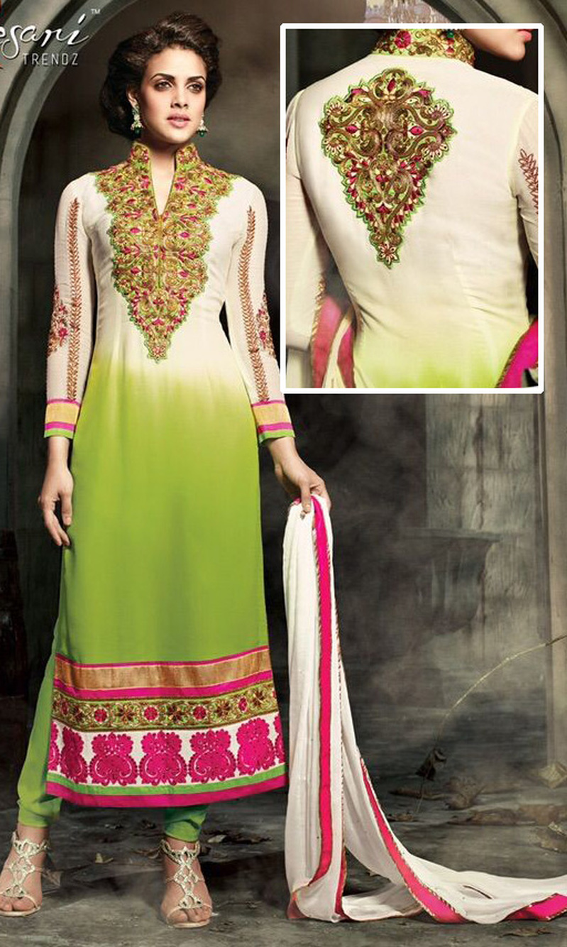 Off White & Parrot Green Georgette Suit