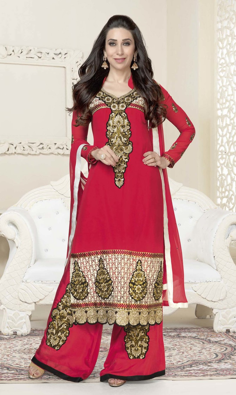 Karisma Kapoor Red Georgette Plazo Suit
