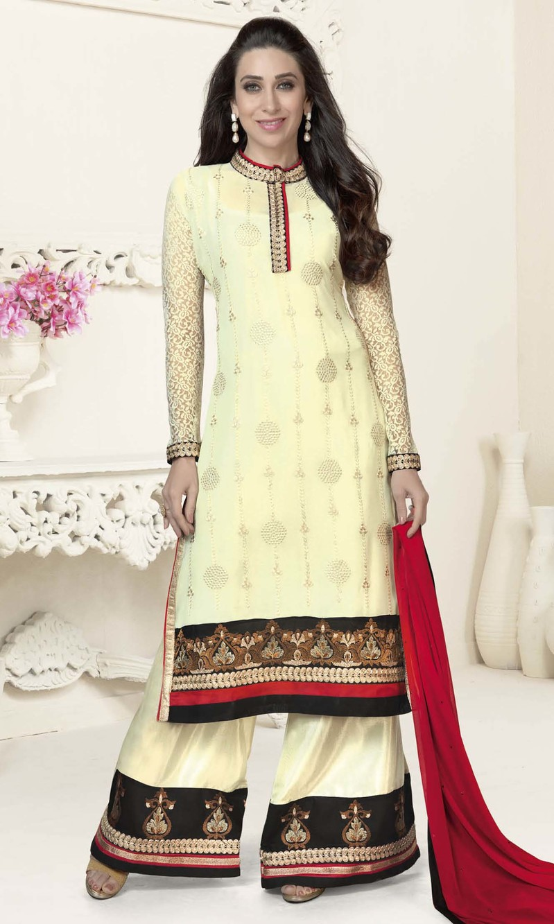 Karisma Kapoor Cream Georgette Plazo Suit