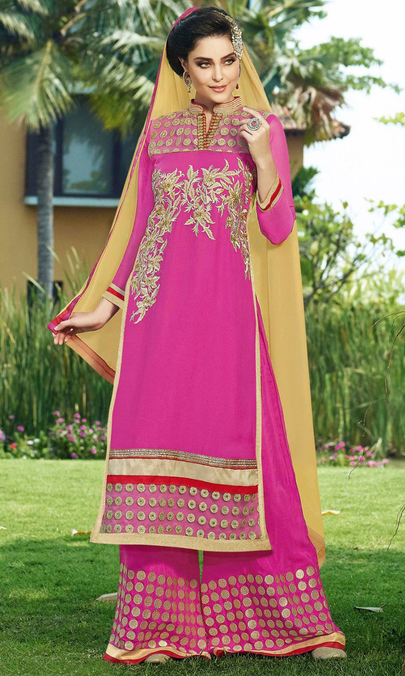 Pink Embroidered Georgette Suit with Bottom Work