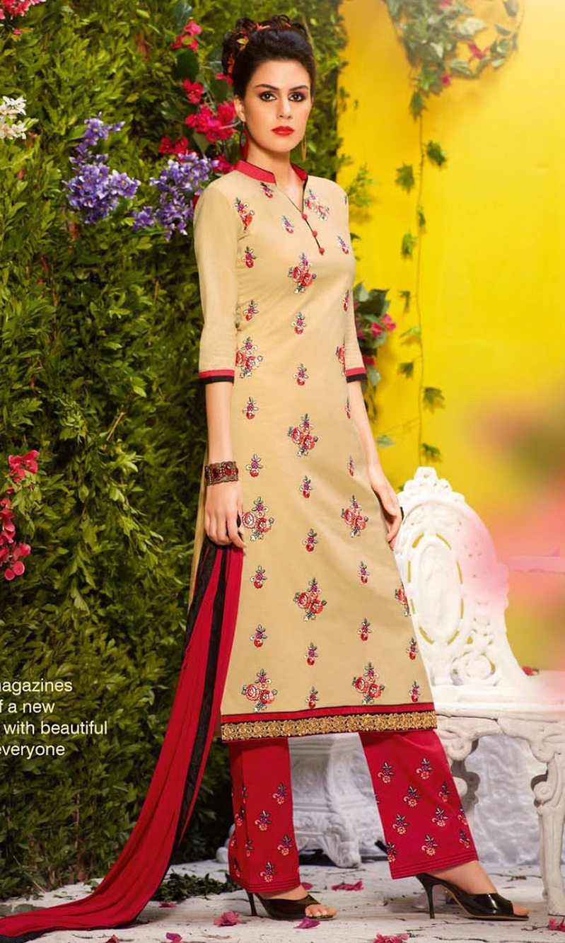 Beige Cotton Suit with Bottom Work