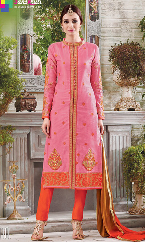 Pink & Orange Pure Cotton Suit