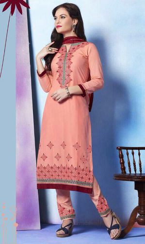 Peach Pure Cotton Suit with Bottom Work