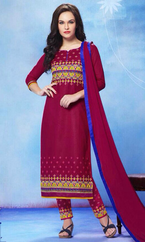 Raspberry Red Pure Cotton Suit with Bottom Work