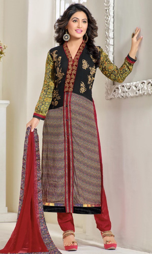 Hina Khan Printed Georgette Satin Suit
