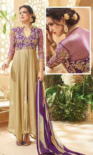 Purple & Beige Georgette Designer Suit (Kaia 5904)