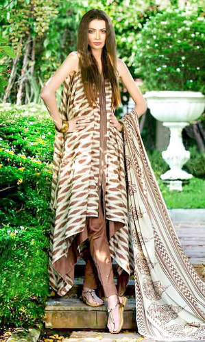 Brown & White Block Print Cambric Cotton Unstitched Suit