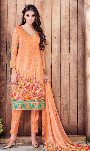 Orange Digital Print Pure Georgette Suit