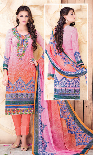 Multicolor Digital Print Pure Georgette Suit (Aroma 954)
