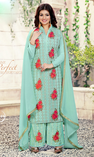 Ayesha Takia Sea Green Georgette Palazzo Suit