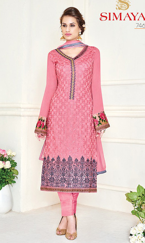 Rose Pink Embroidered Georgette Straight Suit