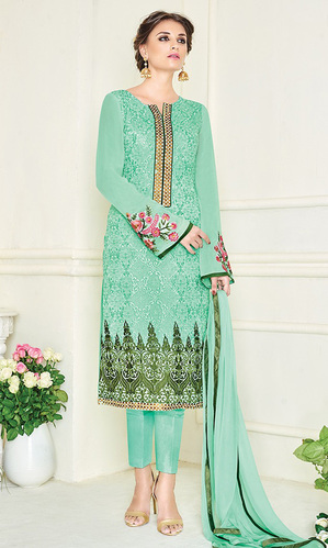 Mint Green Embroidered Georgette Straight Suit