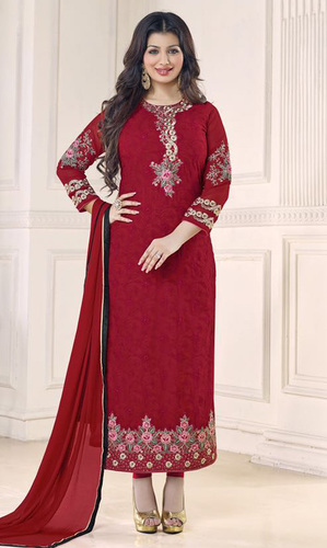 Maroon Embroidered Georgette Suit (Ayesha Takia - 11001)