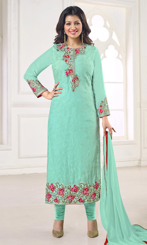 Sea Green Embroidered Georgette Suit
