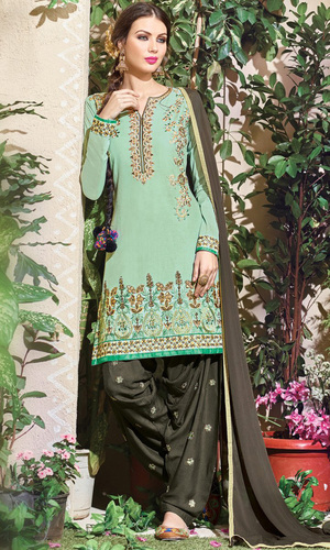 Mint Green Embroidered Cotton Patiala Salwar Suit