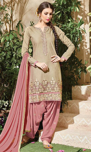 Beige Embroidered Cotton Patiala Salwar Suit