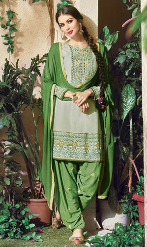 Grey Embroidered Cotton Patiala Salwar Suit