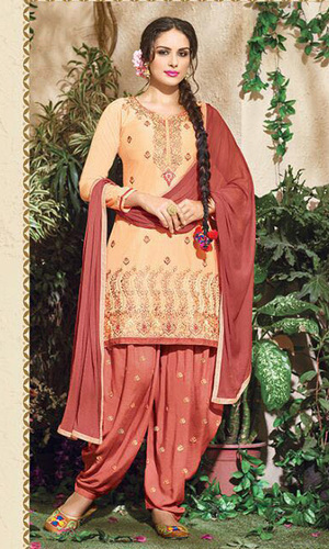 Peach Embroidered Cotton Patiala Salwar Suit