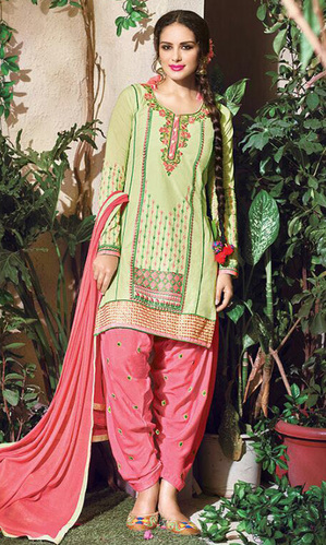 Pista Green Embroidered Cotton Patiala Salwar Suit