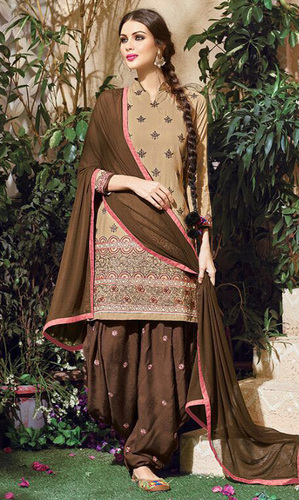 Light Brown Embroidered Cotton Patiala Salwar Suit