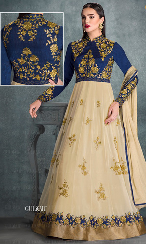Blue & Beige Embroidered Georgette Anarkali Suit
