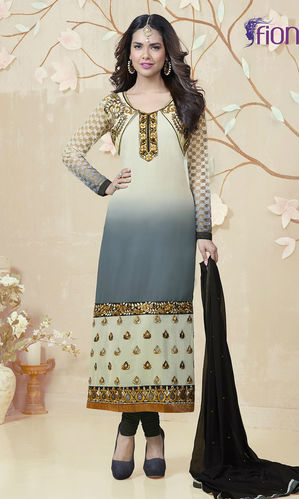Cream & Grey Georgette Suit (Esha Gupta 2 - 1808)