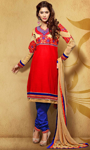 Delightful Red Cotton Suit (Nawabi 2 - 201)