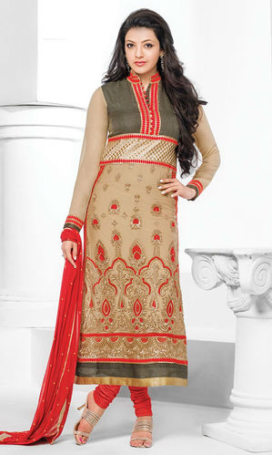 Kajal Aggarwal Beige & Red Georgette Suit