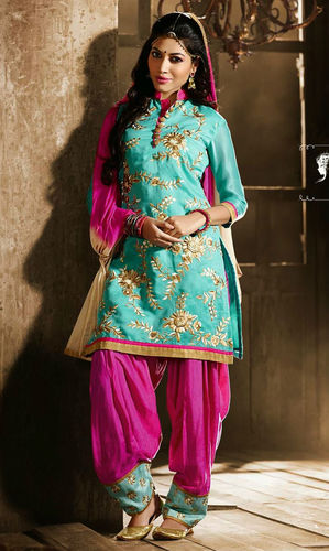 Sky Blue & Pink Cotton Patiala Suit