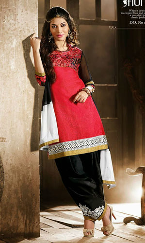 Red & Black Cotton Patiala Suit