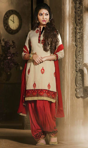 Beige & Red Cotton Patiala Suit