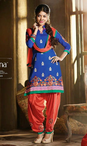 Blue & Orange Cotton Patiala Suit